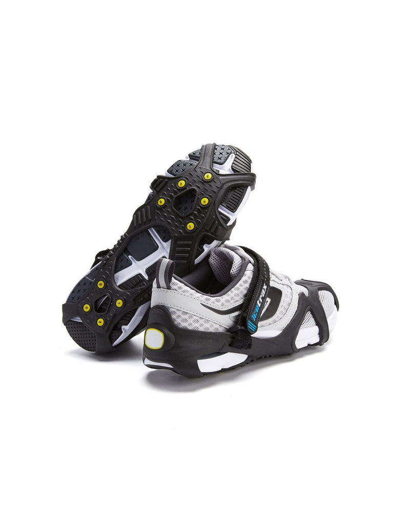 Icetrax V3 tungsten ice cleats with velcro straps on white shoes