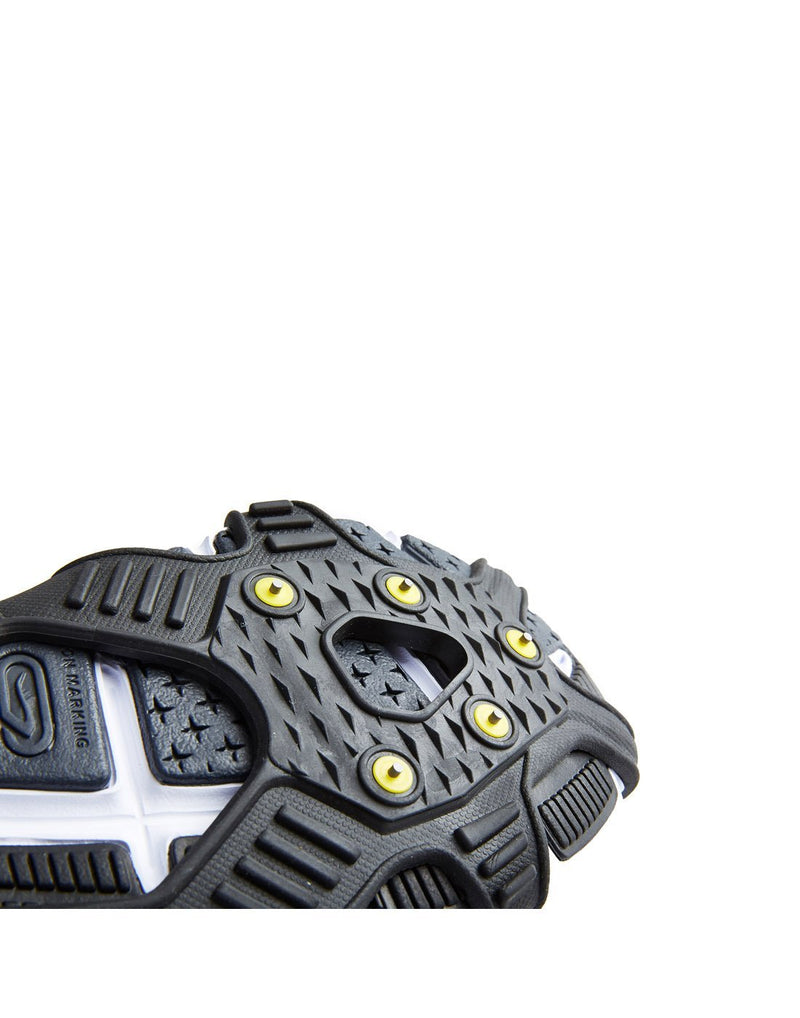 Icetrax V3 tungsten ice cleats with velcro straps close up view
