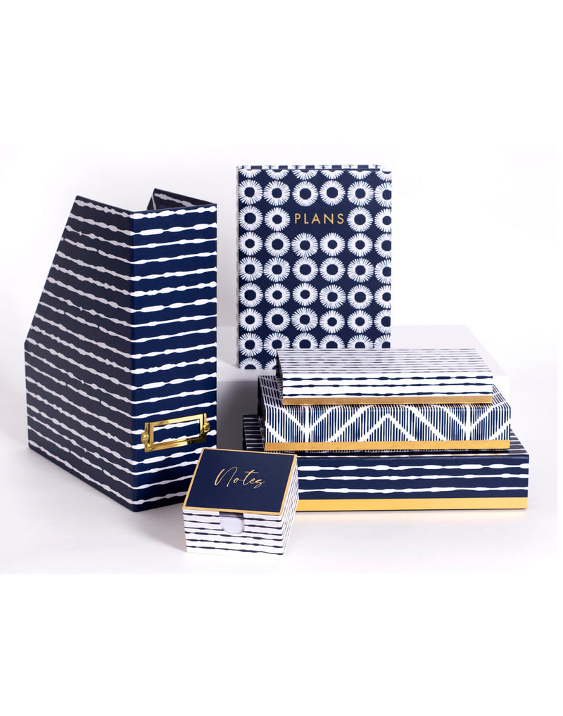Lady Jayne Indigo collection - file folder, planner, note pad and pencil box set