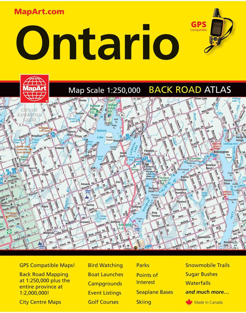 Mapart ontario back road atlas front view