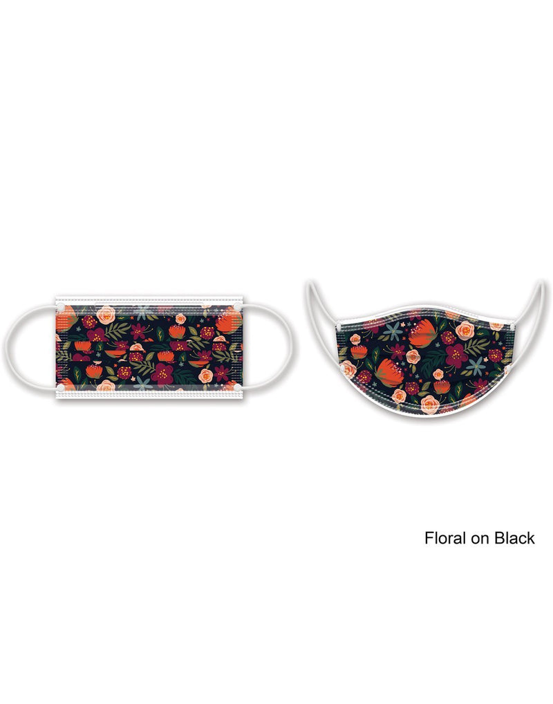 Punch studio floral on black design disposable face masks 10pk