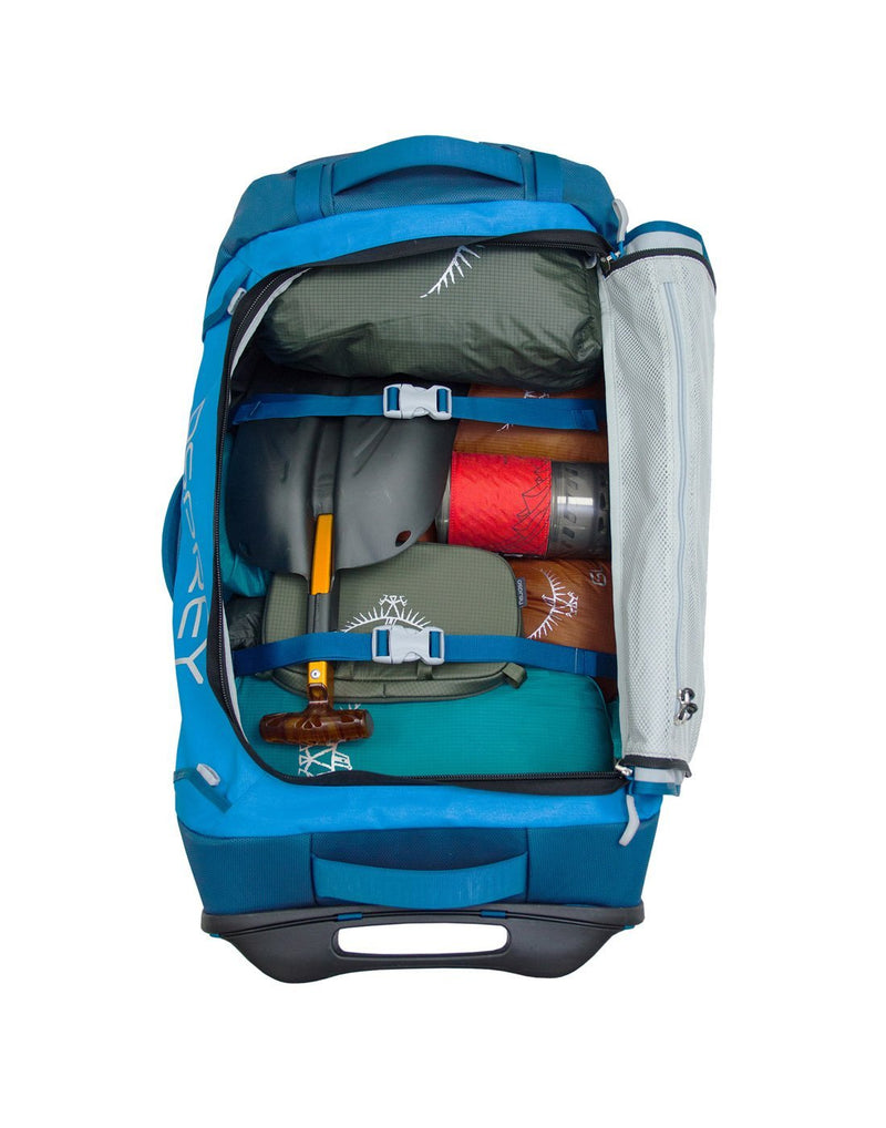 Osprey transporter wheeled 90 kingfisher blue colour duffel bag compression strap