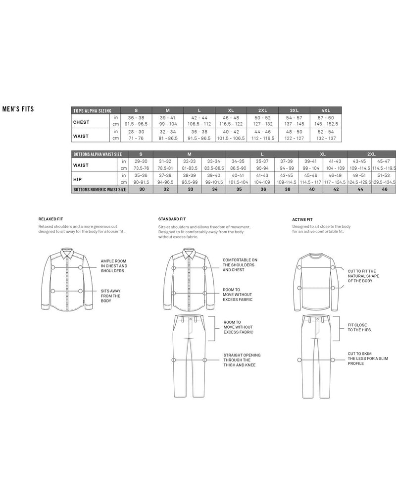 Royal Robbins men's sizing chart