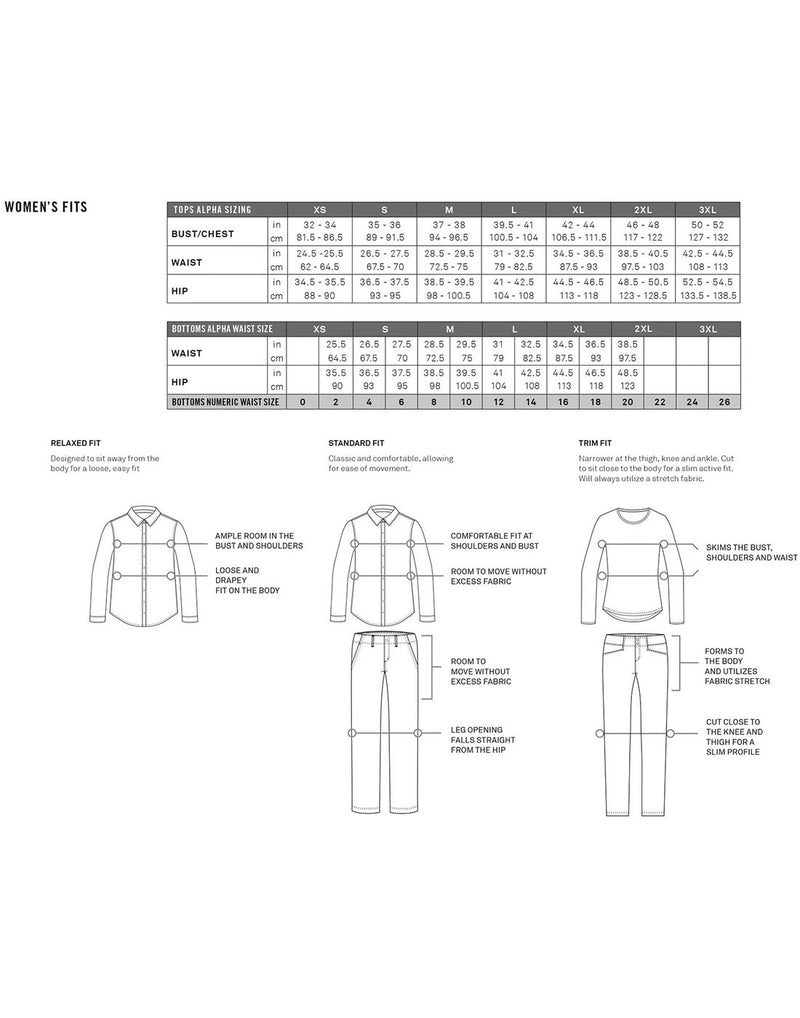 Royal Robbins women's sizing chart