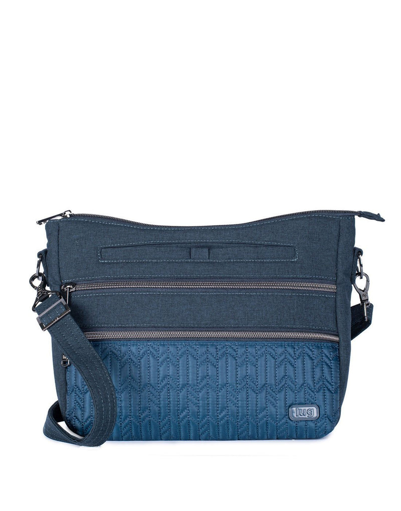Lug slider navy blue colour crossbody purse front view