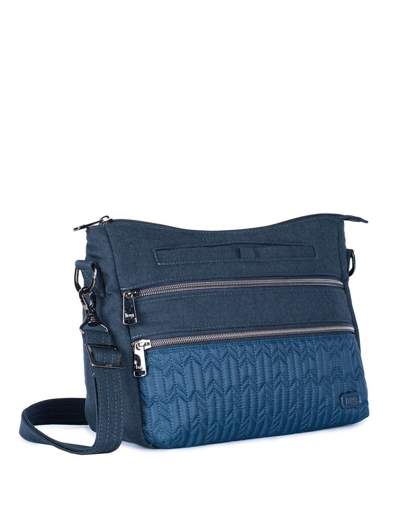 Lug slider navy blue colour crossbody purse corner view
