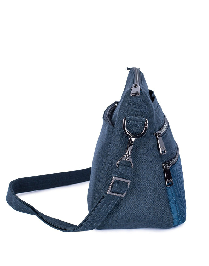 Lug slider navy blue colour crossbody purse side view
