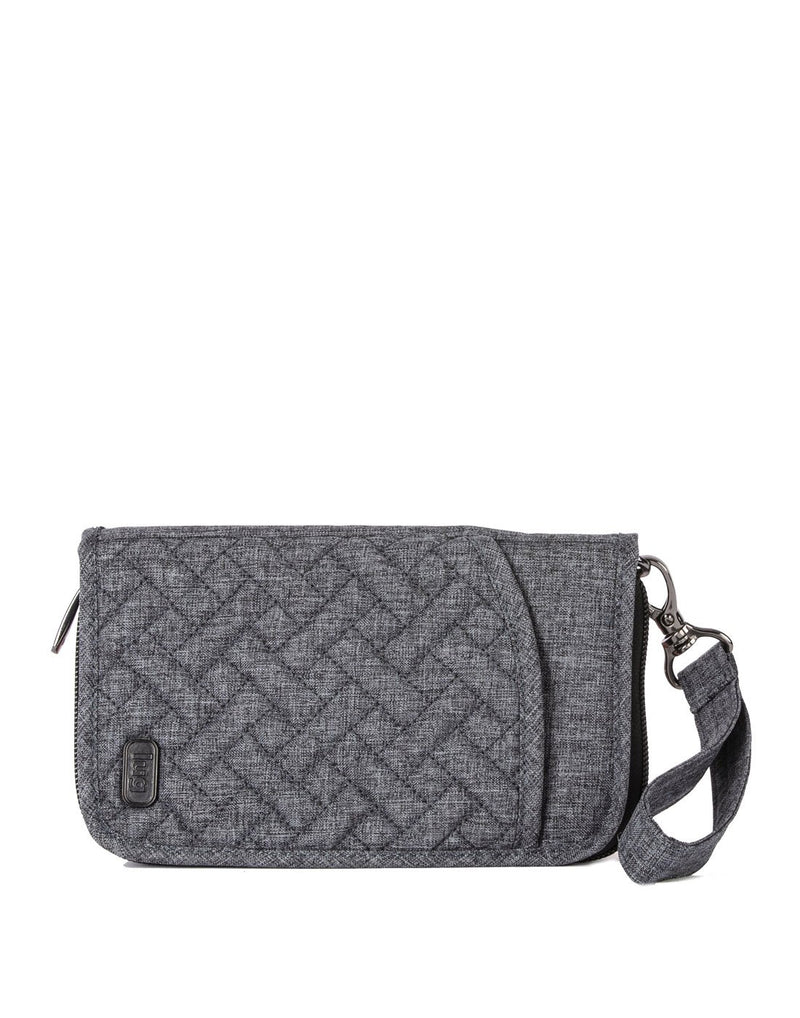 Lug tandem heather grey colour zip wallet front view