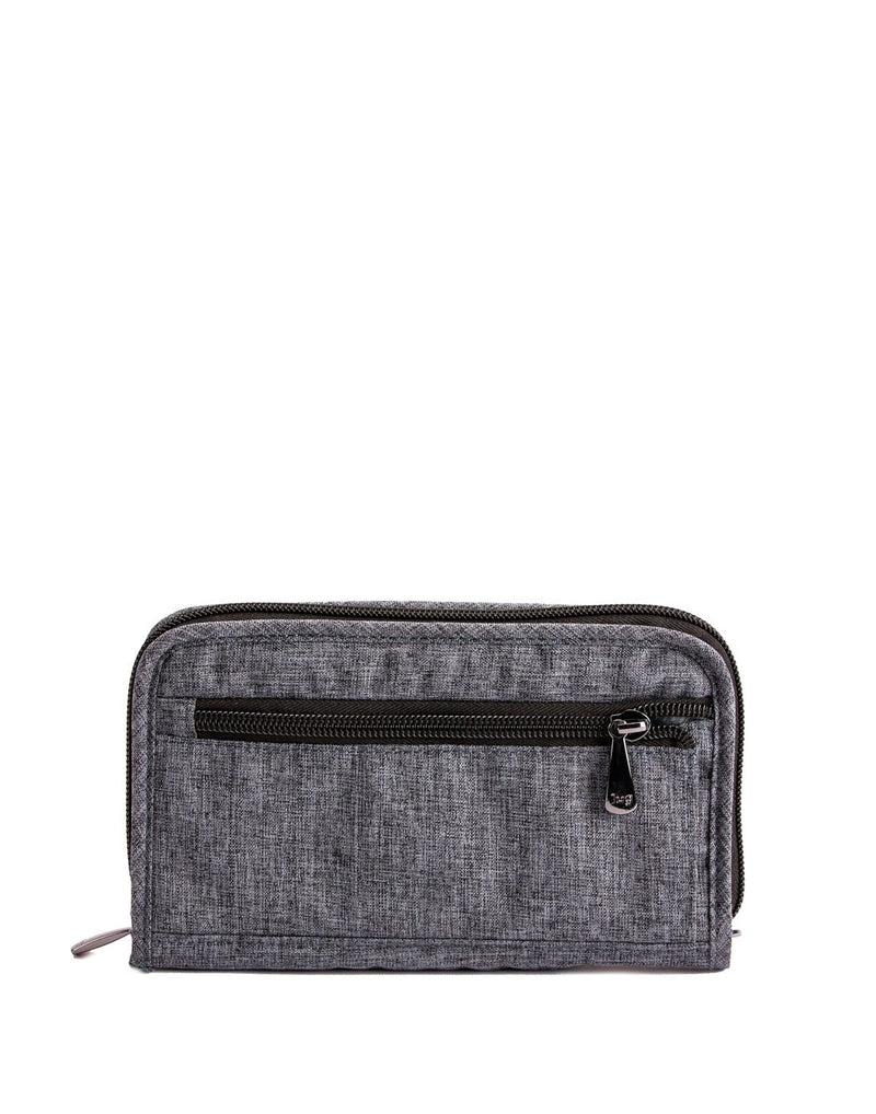 Lug tandem heather grey colour zip wallet back view