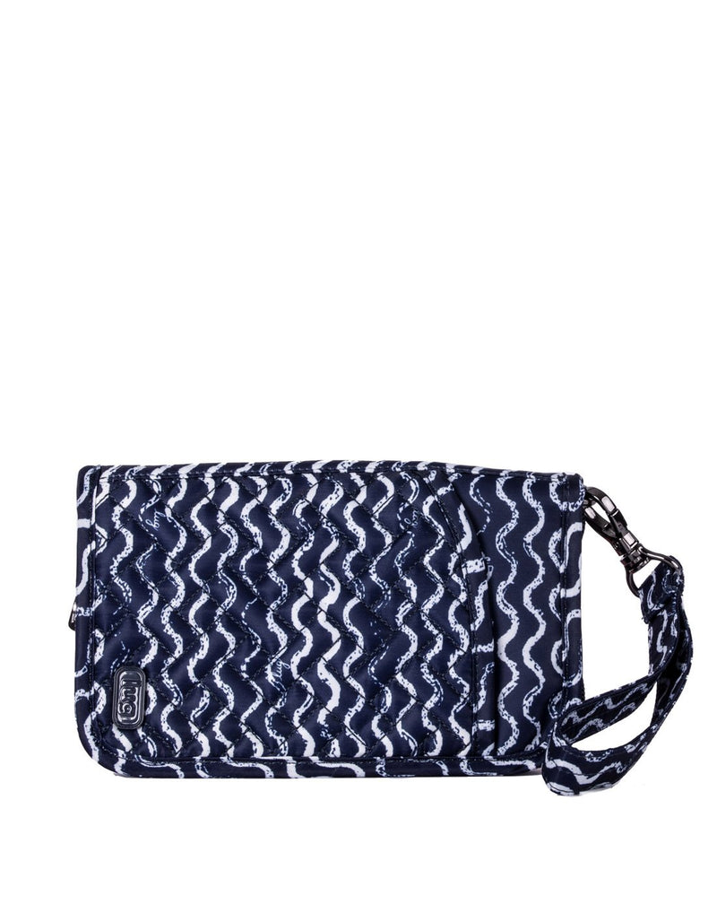 Lug tandem waves navy design zip wallet front view