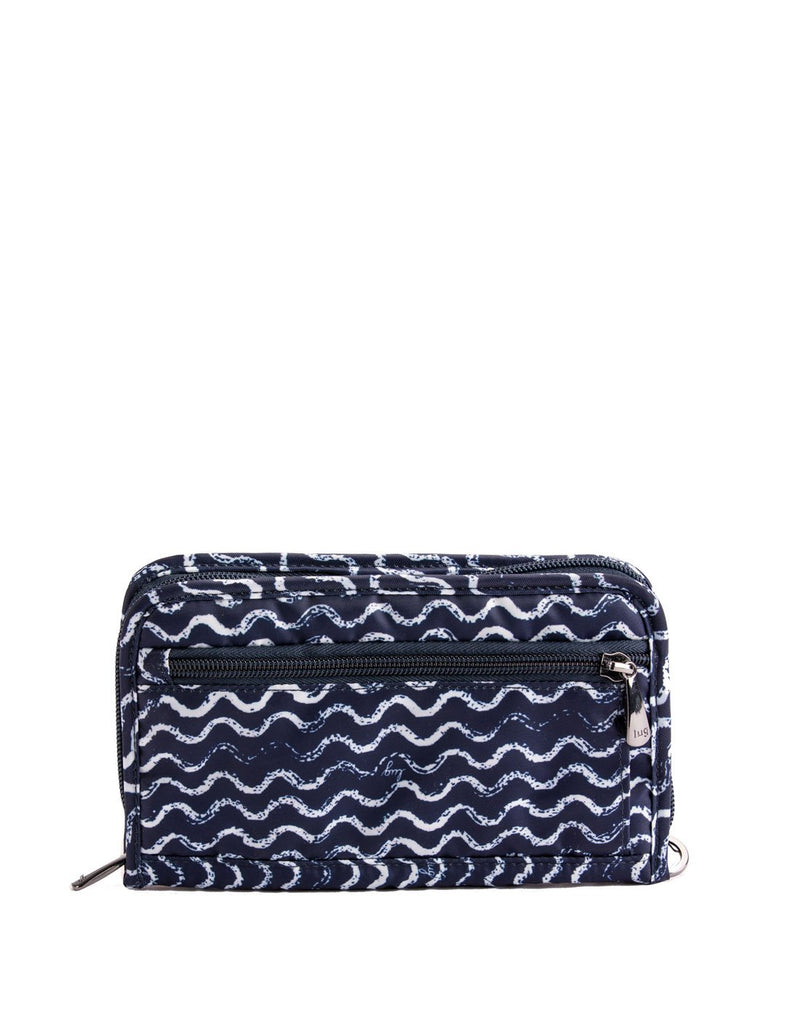 Lug tandem waves navy design zip wallet back view