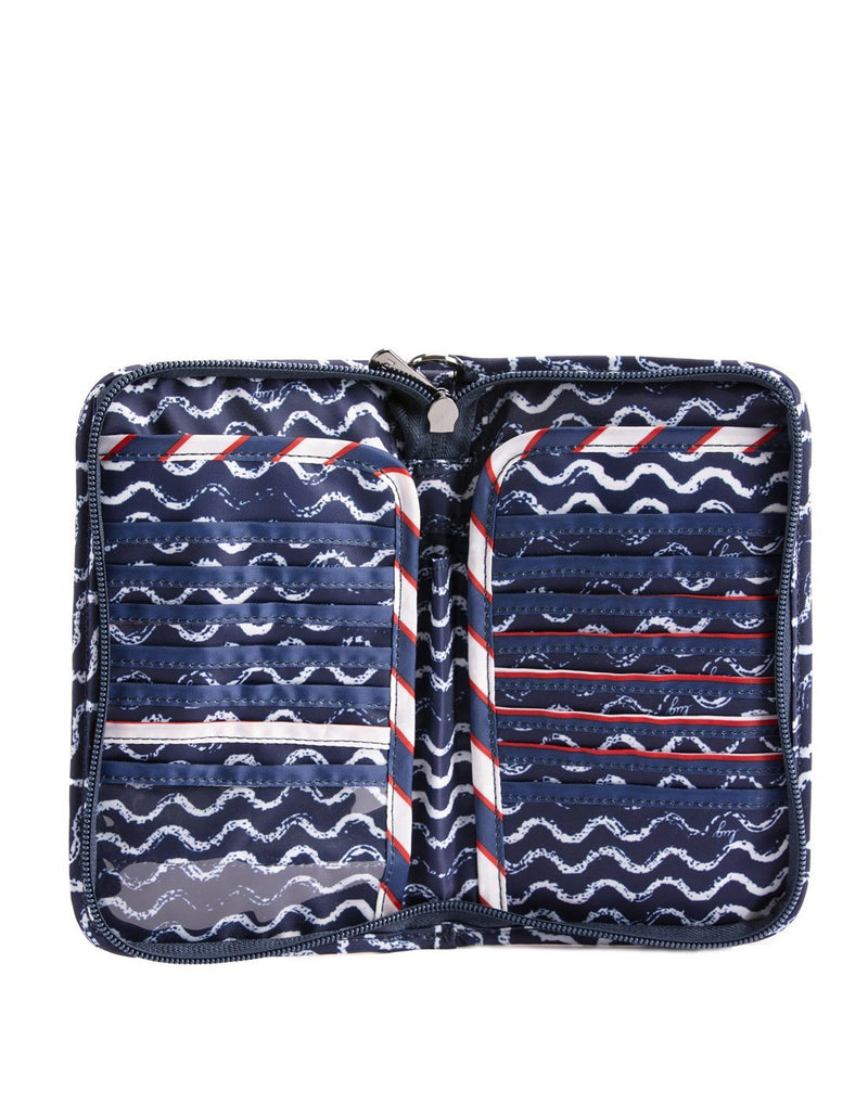 Lug tandem waves navy design zip wallet inside view