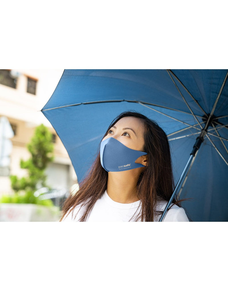 Girl wearing classic blue colour mask