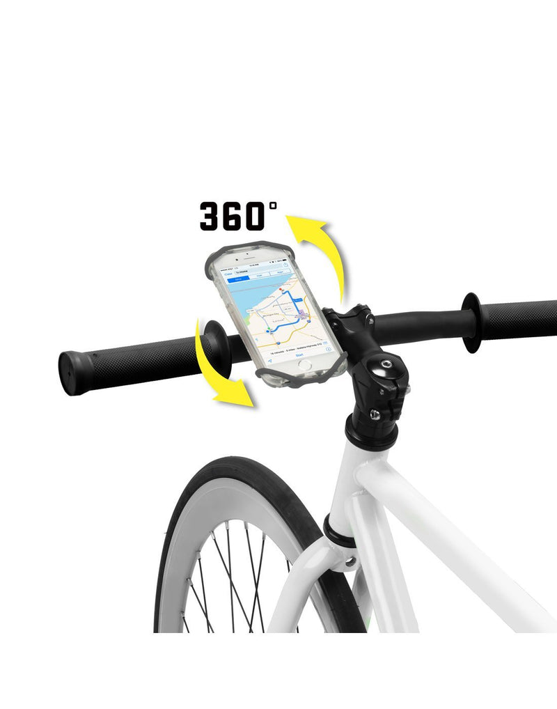 Nite ize wraptor smartphone bar mount with 360 degrees of rotation