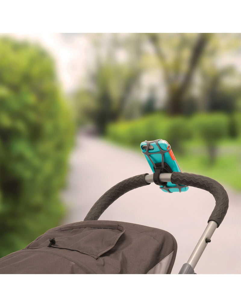 Nite ize wraptor smartphone bar mount attached to stroller handles
