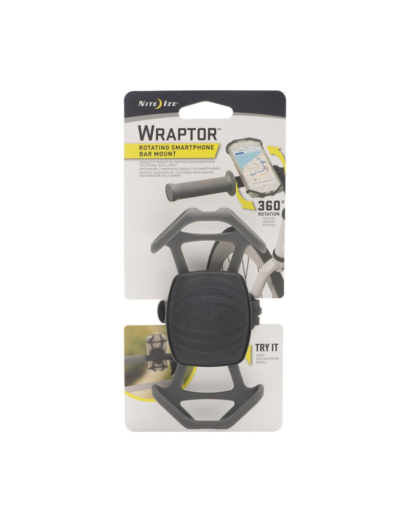 Nite ize wraptor smartphone bar mount packaged front view