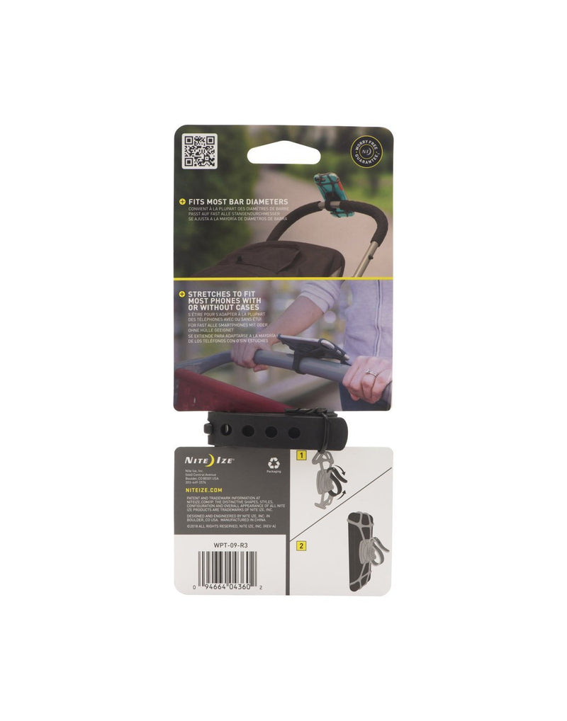 Nite ize wraptor smartphone bar mount packaged back view