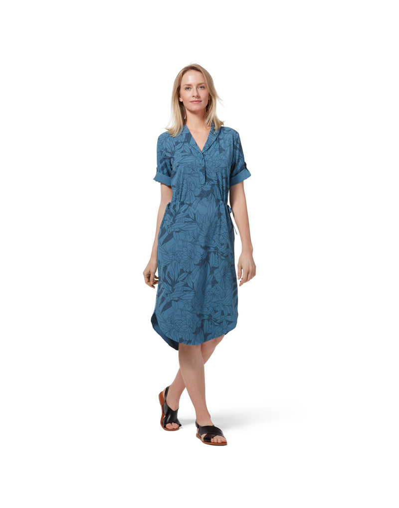 Model wearing Royal Robbins Women's Spotless Traveller Dress Short Sleeve - stellar rio floral print, front view