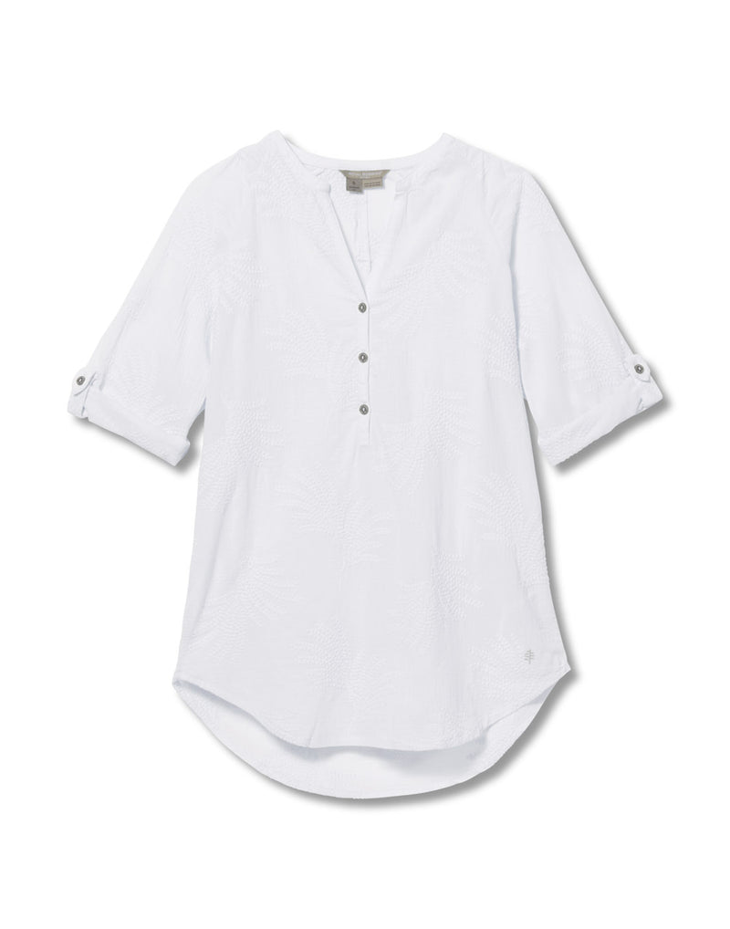Royal Robbins Women's Oasis Tunic II 3/4 Sleeve - white, front view