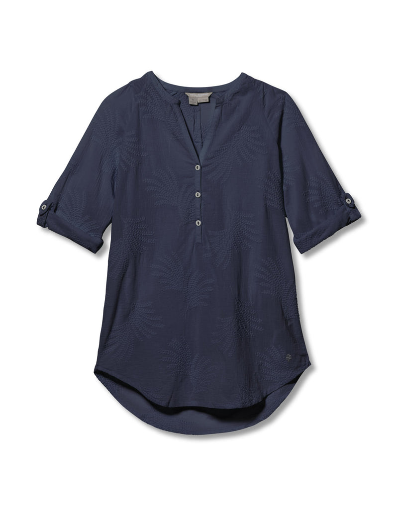 Royal Robbins Women's Oasis Tunic II 3/4 Sleeve - navy, front view
