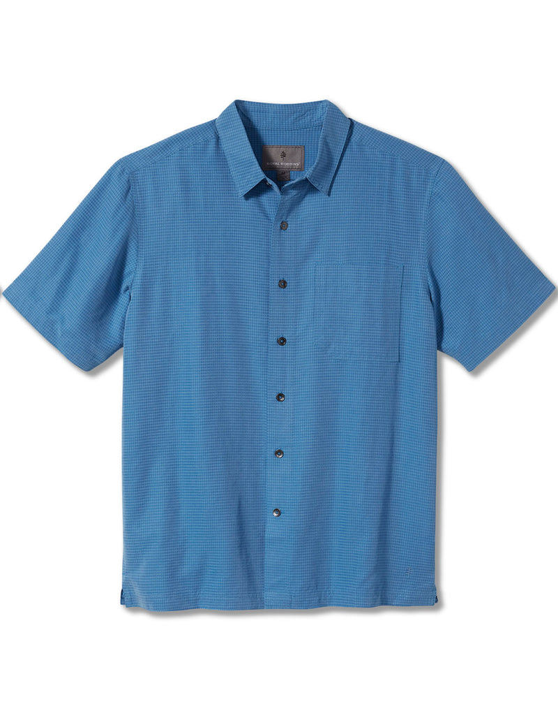 Royal Robbins Men's Desert Pucker Dry Short Sleeve - parisian blue, front view