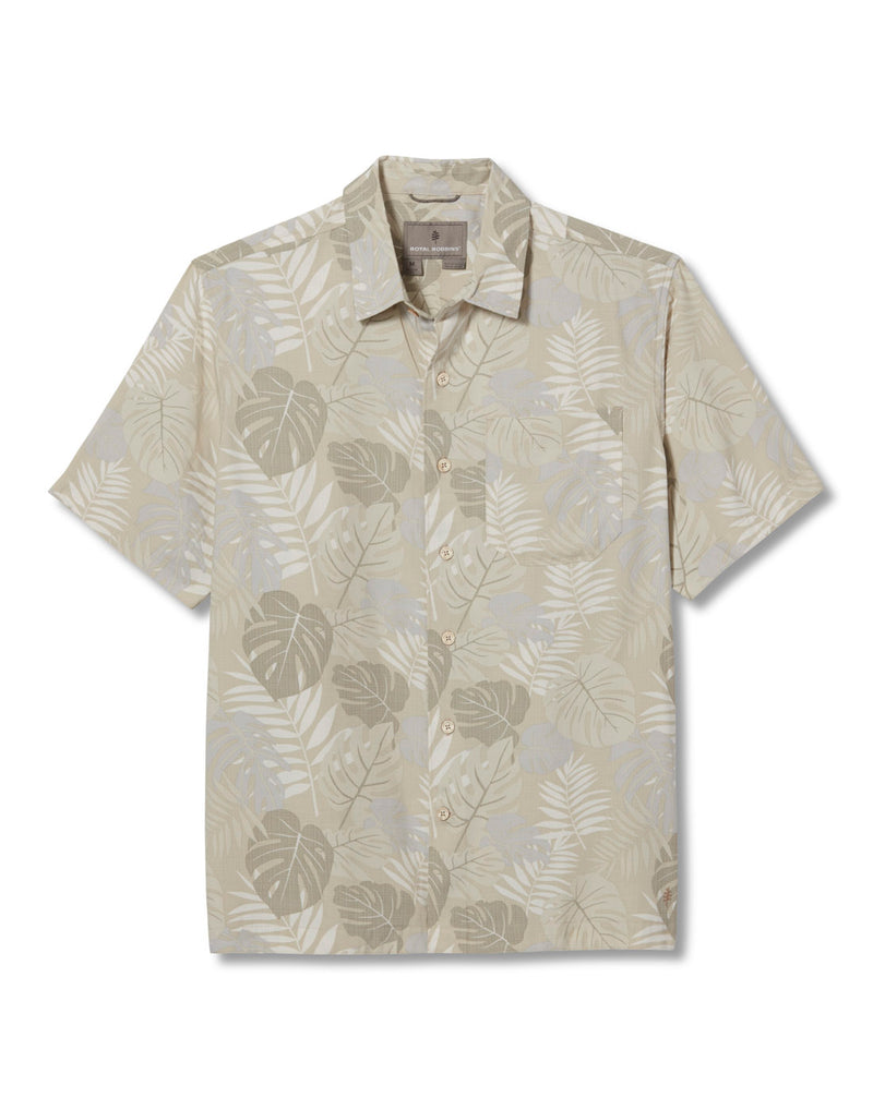 Royal Robbins Men's Comino Leaf Short Sleeve Shirt - sand print, front view