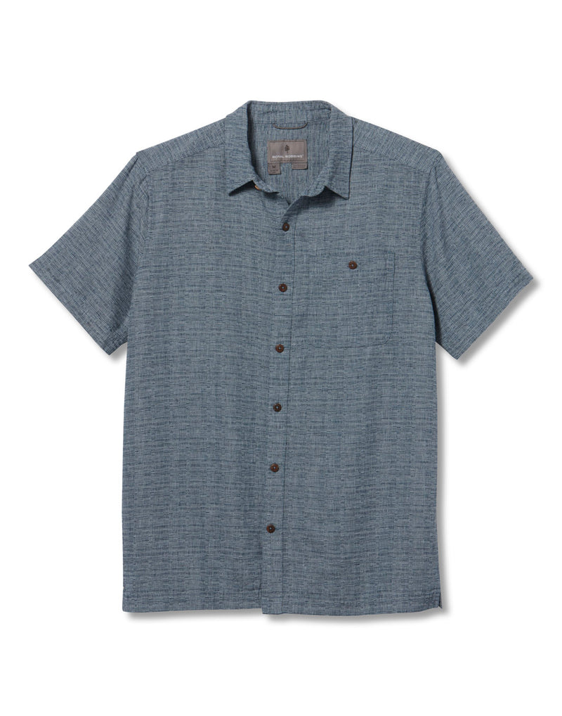 Royal Robbins Men's Salton City Short Sleeve Shirt - collins blue, front view