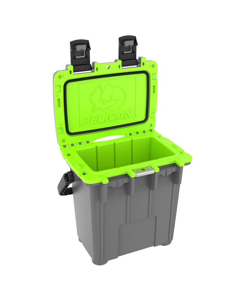 Pelican™ Elite 20qt Cooler - dark grey and green colour, with lid open showing green interior