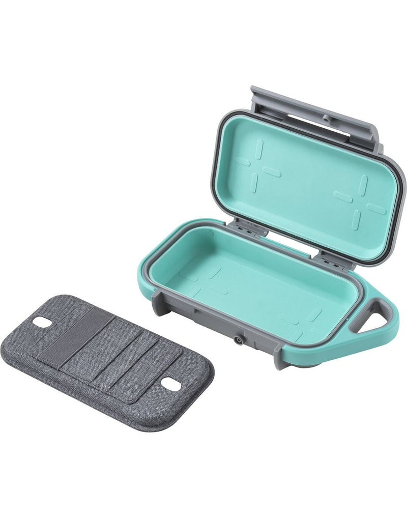 "Pelican goâ""¢ g40 personal utility slate / teal colour open inside  view"