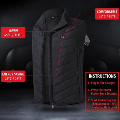 InsulaHeat Rechargeable Heated Vest (Unisex)