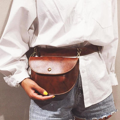 Rustic Retro Faux Leather Belt Bag