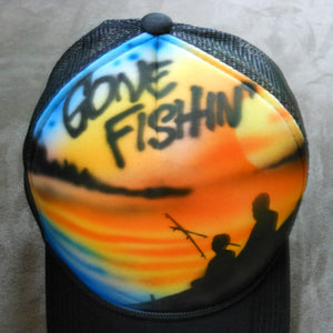 Gone Fishin' Airbrush Hat