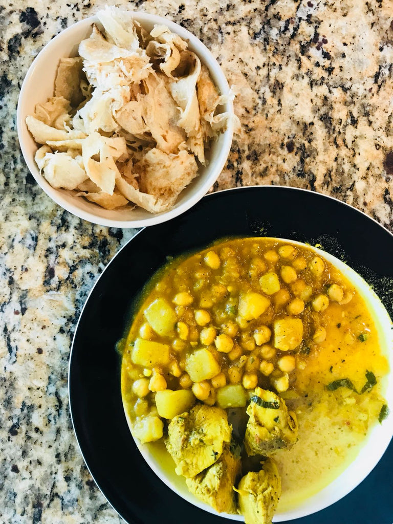 Making the easiest lunch ever! Trinidad curry chicken with potato (aloo) + channa