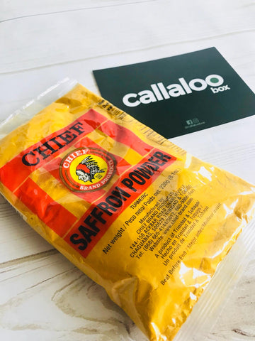 Callaloo Box Chief Turmeric Saffron Powder Indo Trinbagonian Diwali Box subscription box Caribbean online grocery