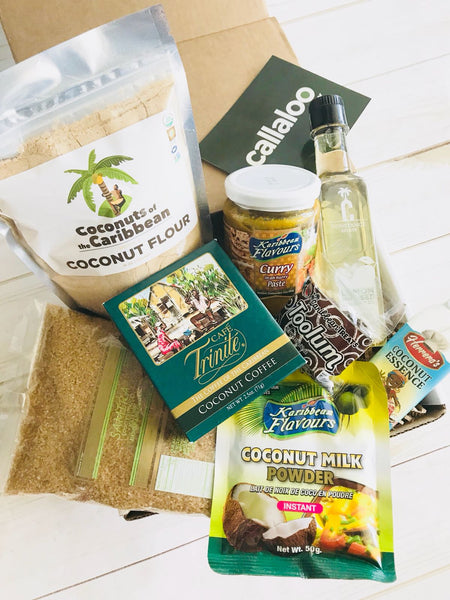 Callaloo Box Coconut themed box Septemer 2018 Trinidad and Tobago Subscription Box Caribbean Online Grocery_full box