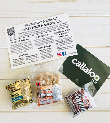 Callaloo Box Trinidad Tobago Finger Food Snacks Box Caribbean Treats Khurma Toolum Paula's Tamarind Candy Balls Caribbean subscription box online grocery