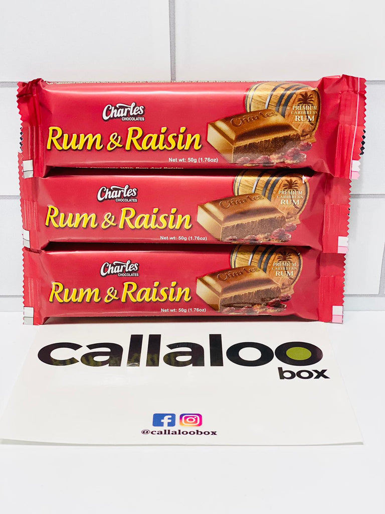 Callaloo Box Trinidad and Tobago Caribbean subscription box service Caribbean Online grocery__Charles Chocolate Rum & Raisin Chocolate Bar-3-Pack