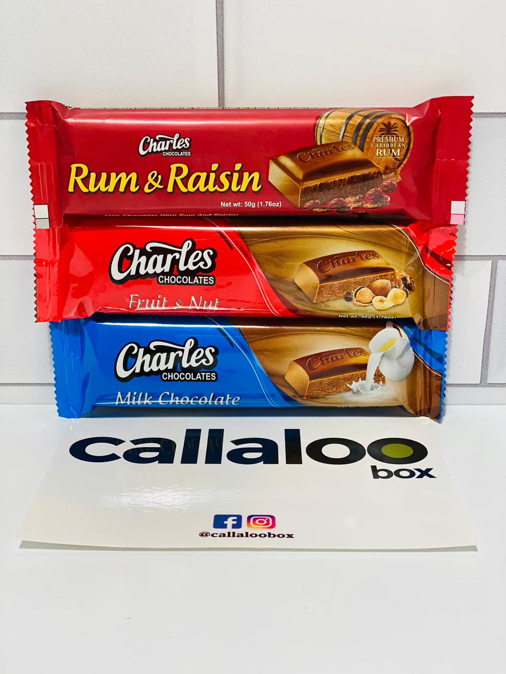 Callaloo Box Trinidad and Tobago Caribbean subscription box service Caribbean Online grocery__Charles Chocolate Rum Raisin Fruit Nut Milk Chocolate Bar-3-Pack