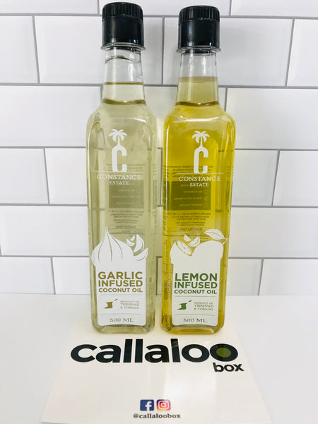 Callaloo Box Trinidad and Tobago Subscription Box Service Online Grocery Caribbean Seafood Box_03.2020_Constance Estate Lemon Infused Coconui Oil-500ml_1