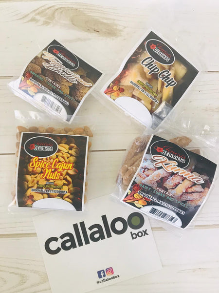 Callaloo Box Jenesis Delights snacks sampler khurma kurma spice cajun nuts chip chip tamarind balls Trinidad & Tobago Subscription box caribbean online grocery_2