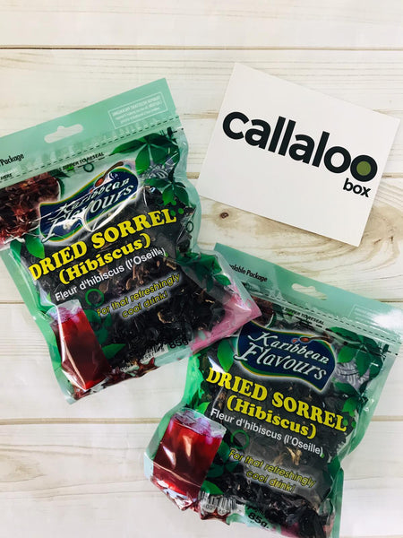 Callaloo Box  Karibbean Flavours Dried Sorrel Hibiscus 85g Pack of 2 Trinidad Tobago Subscription Box Caribbean Online Grocery