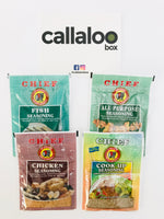Callaloo Box Chief Chicken All Purpose Fish Cook Up Seasoning Shaker Packs Trinidad Tobago Subscription Box Caribbean Online Grocery