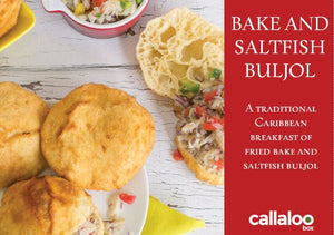 HMZ Bake and Saltfish Buljol Recipe Card