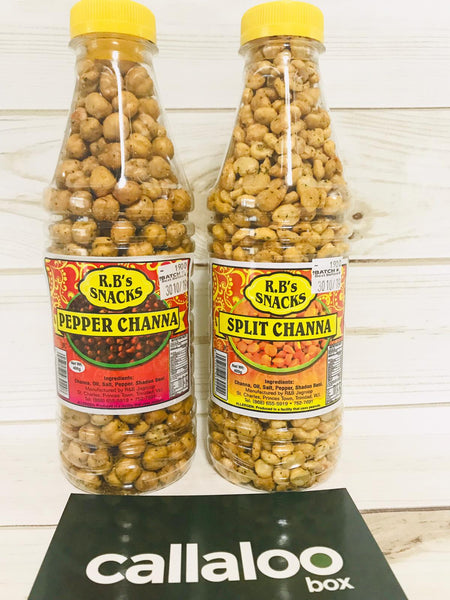 R.B's Snacks Pepper Whole Channa Split Channa - sampler pack of 2 Callaloo Box Trinidad Tobago Caribbean subscription box online grocery