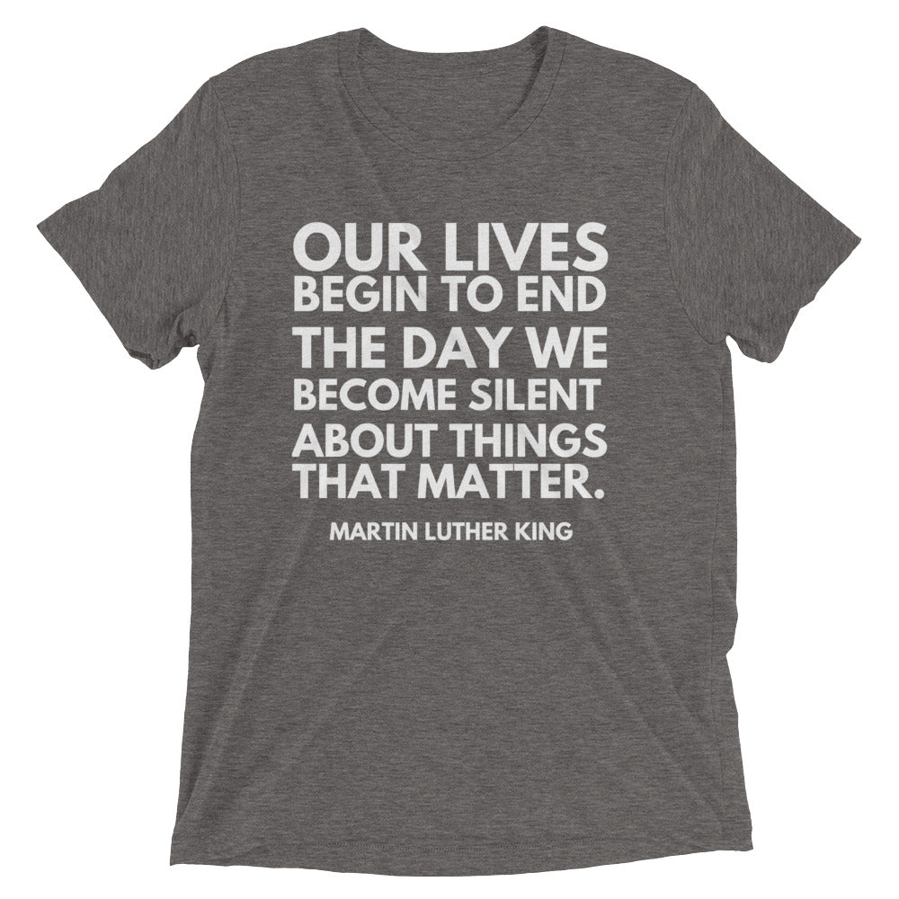 Our Lives Begin To End Short sleeve t-shirt
