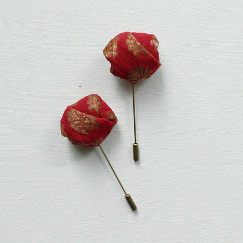 The Mahārāja | Jacquard Red and Gold | Lapel Pin