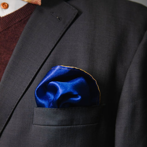 Goa | Satin Blue and Gold | Pocket Square