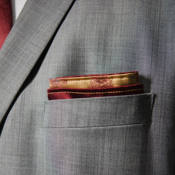 Punjab | Satin Red and Gold | Pocket Square