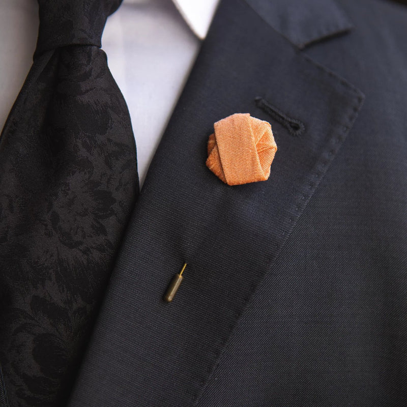 Peach | Raw Silk | Knot Pin