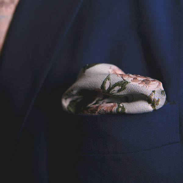 Derby Floral | Jacquard | Pocket Square | Made To Order